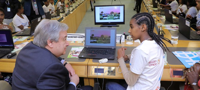 UN Photo/Antonio Fiorente Secretary-General António Guterres attends a Science, Technology, Engineering and Mathematics (STEM) Event on Digital Coding at the 32nd Assembly of the African Union in Addis Ababa, Ethiopia.