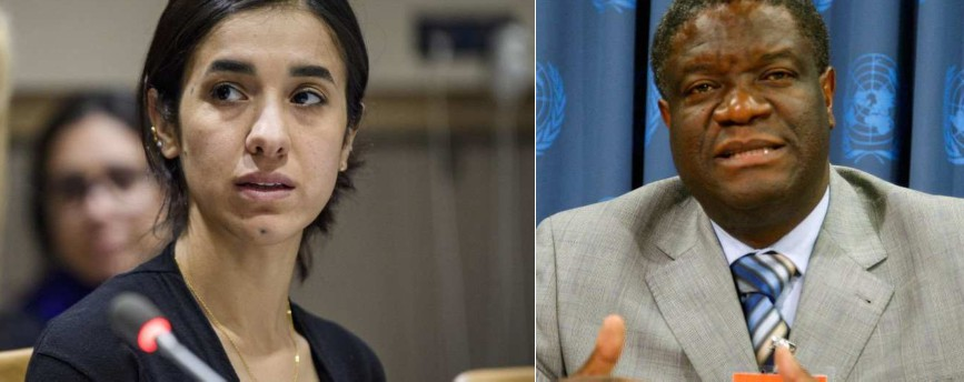Nadia Murad, a Yazidi rights activist and the first Goodwill Ambassador for the Dignity of Survivors of Human Trafficking of the United Nations Office on Drugs and Crime (UNODC), and Denis Mukwege, a gynecologist who helps victims of sexual violence in the Democratic Republic of Congo (DRC),  awarded the 2018 Nobel Peace Prize
