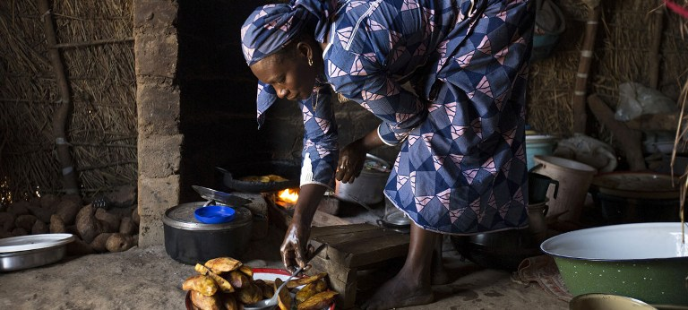 UN Women/Ryan Brown A 38-year-old widow who lost her husband in the Central African Republic war escaped to the Ngam refugee site in the Adamawa region of Cameroon with her five children; one of whom recently died.